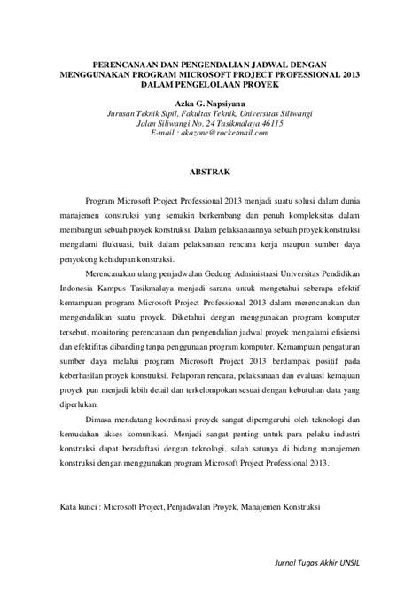 membuat jurnal tugas akhir jurnal microsoft project professional 2013 dalam