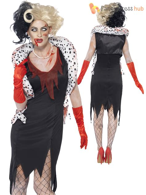halloween fancy dress costumes scary masks and wigs ladies zombie cruella costume black white wig evil womens