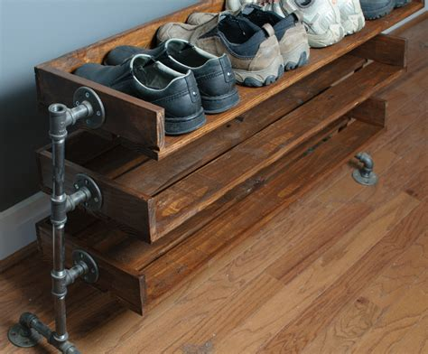 Pipe Shoe Rack by Handmade Reclaimed Wood Shoe Stand Rack Organizer With