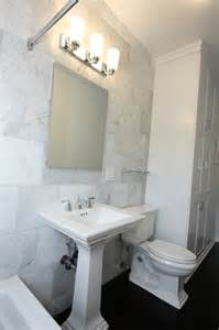 Sink Pedestal White Bianco Carrara Marble Transitional Bathroom