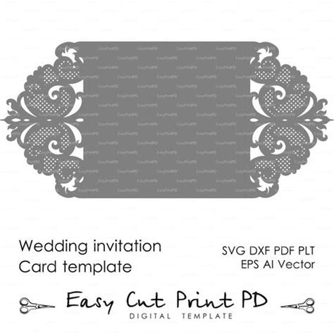 wedding invitation pattern card template lace folds