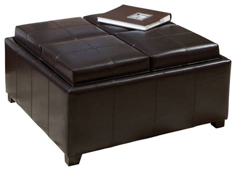 Harley Leather Espresso Tray Top Storage Ottoman Leather Tray Top Storage Ottoman
