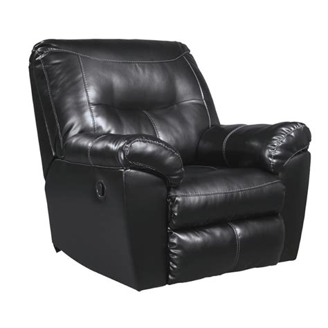 black leather rocker recliner ashley kilzer durablend leather rocker recliner in black