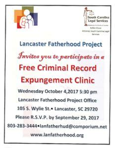 Sc Criminal Record Expungement Free Criminal Record Expungement Clinic Lancaster South