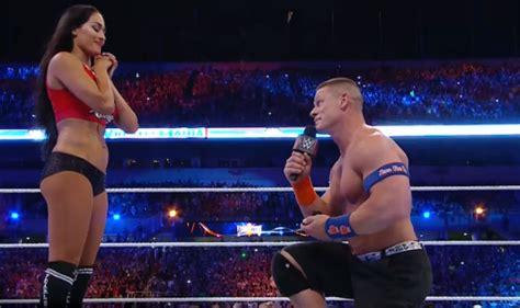 nikki bella proposal john cena proposes to nikki bella during wwe wrestlemania