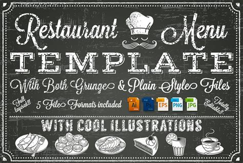 Vector Chalkboard Menu Template Illustrations Creative Chalkboard Menu Template Free