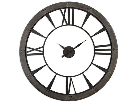 ronan dark rustic bronze large wall clock 06084 uttermost ronan large wall clock ut06084