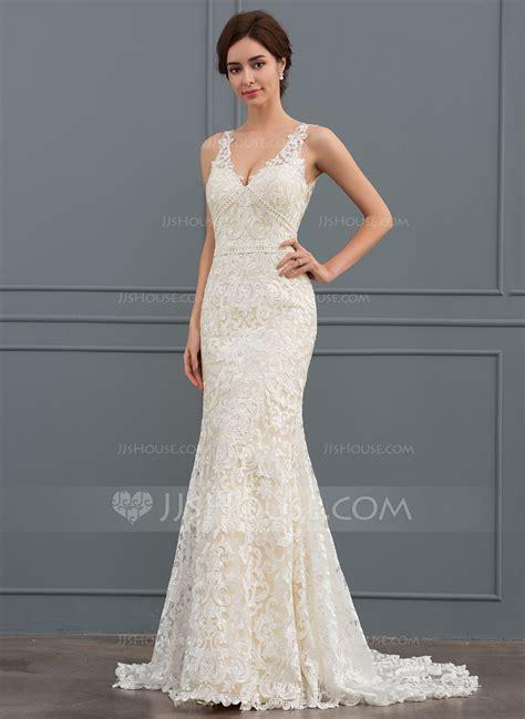 Sweep Wedding Dress by Trumpet Mermaid V Neck Sweep Lace Wedding Dress