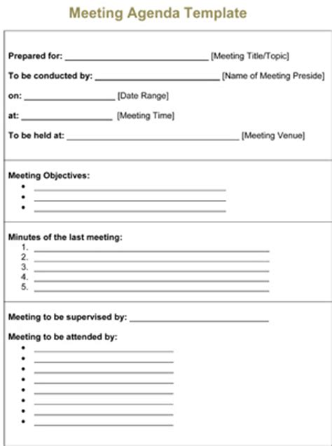 Meeting Agenda Template 8ws Templates Forms Free Printable Meeting Minutes Template
