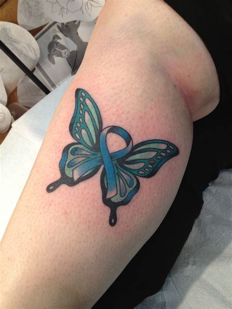 ovarian cancer ribbon tattoos to celebrate 2 1 2 years of being in remission from