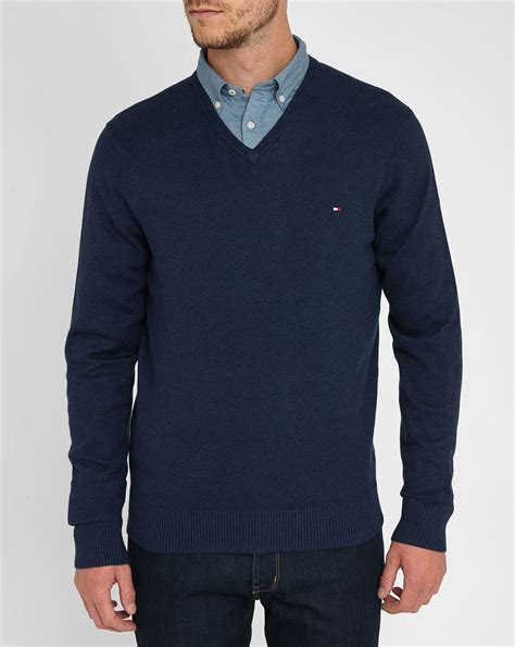 Sweater Marsmellow Navy Blue hilfiger navy cotton wool v neck sweater in blue for lyst