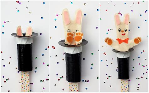 magic crafts for diy rabbit in the hat pop up puppet handmade