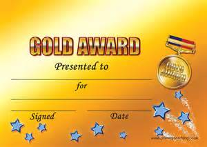 a5 personalised certificate with a gold award design