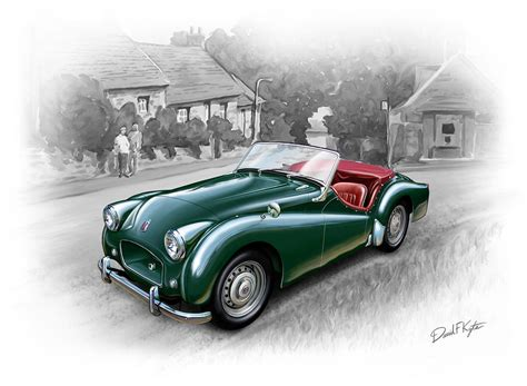 painting cars 2 triumph tr 2 sports car painting by david kyte