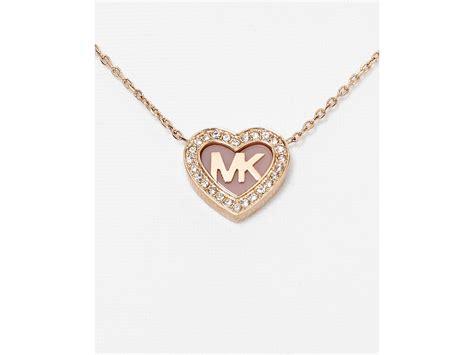 Michael Kors 16 michael kors pave pendant necklace 16 quot in pink lyst