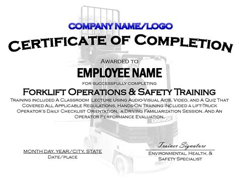 free forklift certification card template 9 best images of printable safety certificates safety