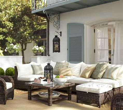 deck patio furniture woven outdoor furniture mediterranean deck patio pottery barn