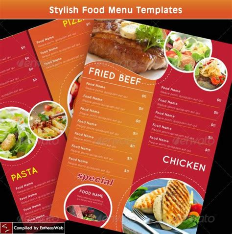 food menu template stylish food menu templates graphic web design ideas