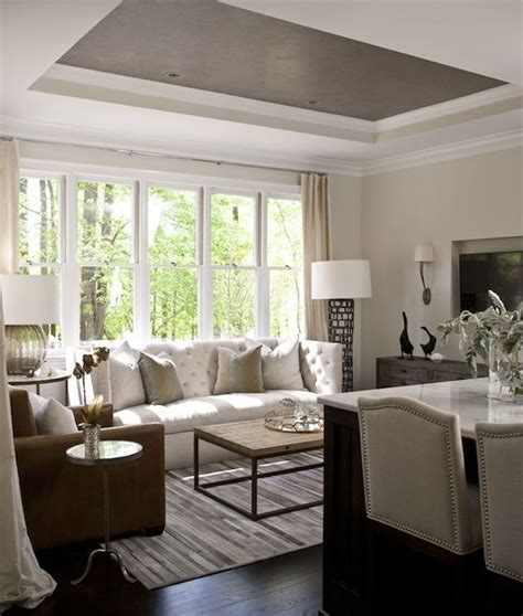 heather garrett design living rooms tray ceiling gray