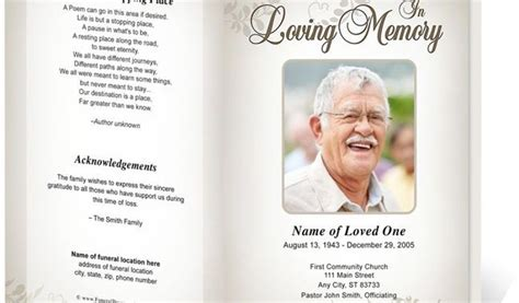 Free Funeral Templates by Free Printable Funeral Program Template