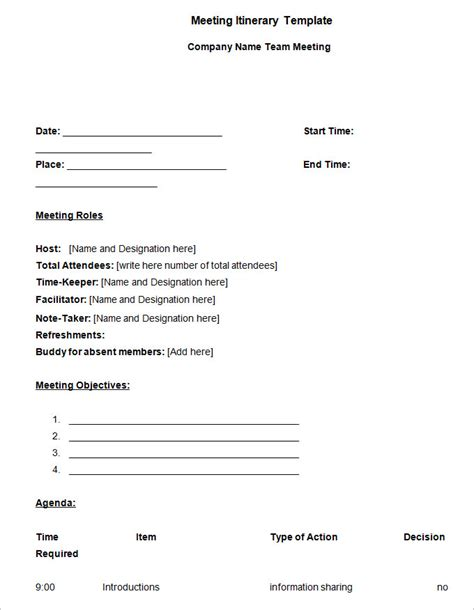 meeting itinerary template 4 free word documents