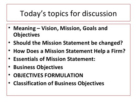 mission statement objectives vision mission objectives goals