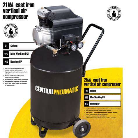 Hp Air 2 21 gal 2 5 hp 125 psi cast iron vertical air compressor