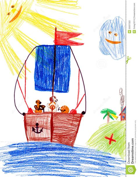 boat child drawing dog on sailboat child s drawing stock photography
