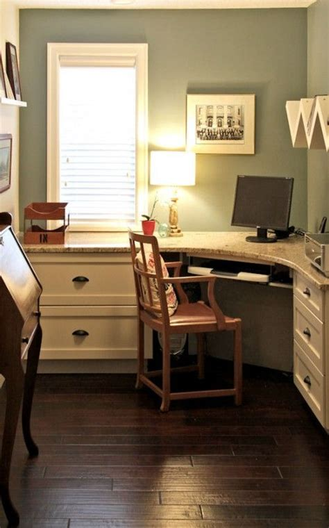 Small Built In Desk Custom Built In Desk Granite Work Top Martha Stewart Quot Arrowroot Quot Paint Ikea Shelving Vintage