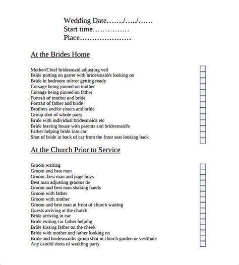 Wedding Photography List by Sle Wedding List 8 Documents In Pdf Psd
