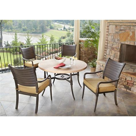 hampton bay eastham  piece patio dining set  beige cushions  home depot small casual