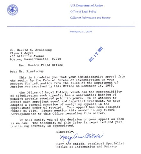 Appeal Letter For Justice Foia