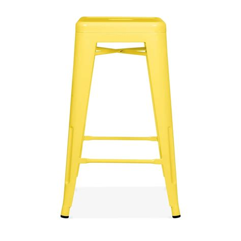 Tolix Bar Stool Yellow by Yellow Powder Coated 65cm Tolix Style Stool Cult Furniture