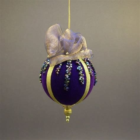 Handmade Balls Ornaments - towers and turrets handmade gold blue beaded velvet