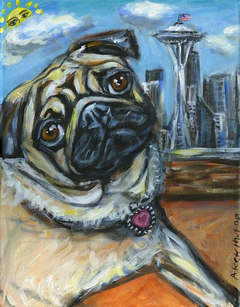 seattle pug seattle pug waiting for the sun painting by angie ketelhut