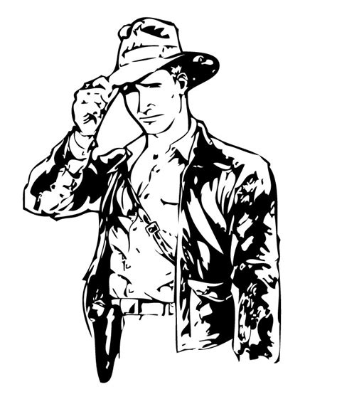 indiana jones with his bullwhip coloring pages hellokids com