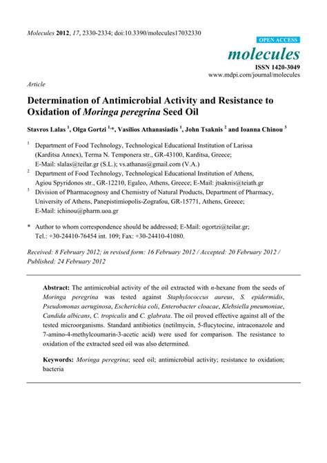 (PDF) Determination of Antimicrobial Activity and