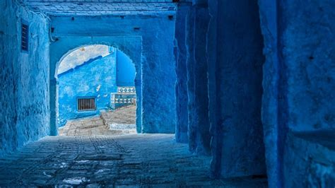 beautiful blue medina  chefchaouen morocco