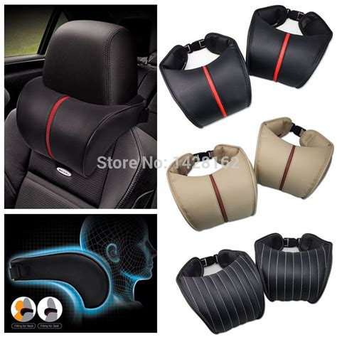 2x memory foam pu leather car neck rest pillow pad