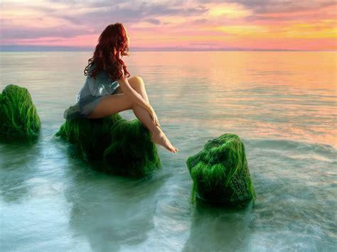 beauty girl sea sunset relax desktop hd wallpaper