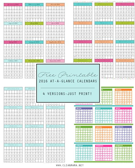 printable calendar at a glance printable calendars by month 2016 page 2 calendar