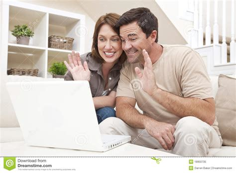 For Couples On Phone Voip Phone Call On Laptop Computer Royalty