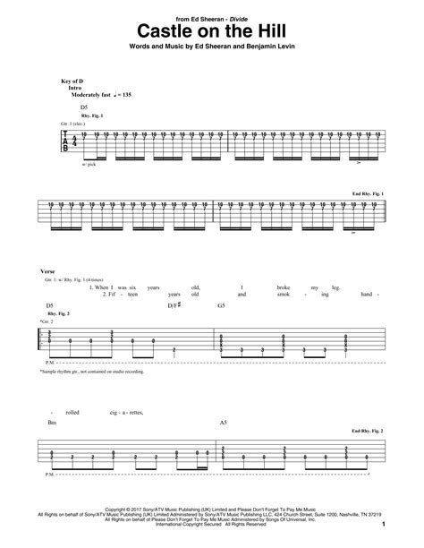 ed sheeran castle on the hill chord castle on the hill guitar tab by ed sheeran guitar tab