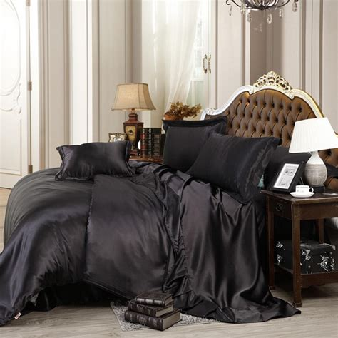 Custom Made Bedding Sets Custom Made Black Luxury Bedding Sets Solid Silk Satin Size Home Bedclothes Bed Linen Duvet