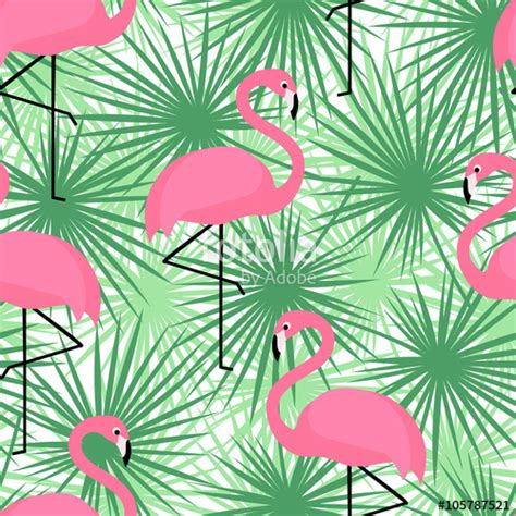 Fern Decor by Quot Tropical Trendy Seamless Pattern With Flamingos And Palm
