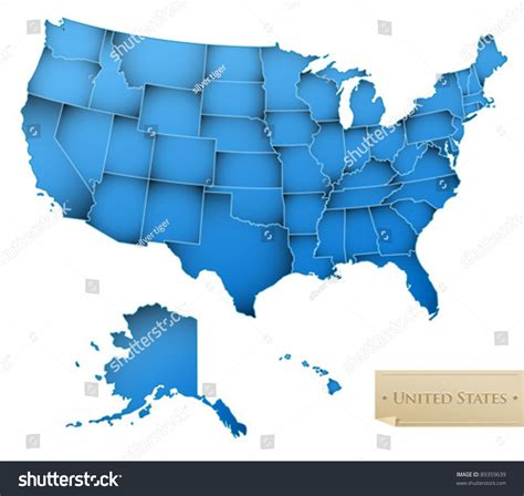 usa all states map usa map united states america all stock vector 89359639