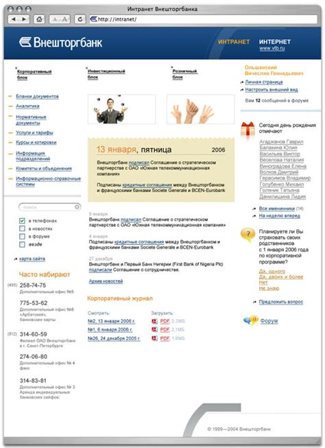 vneshtorgbank intranet templates
