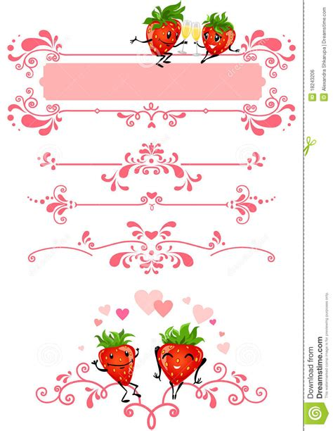 Label Segi 4 Motif Strawberry Pink strawberry and pink decorations stock vector