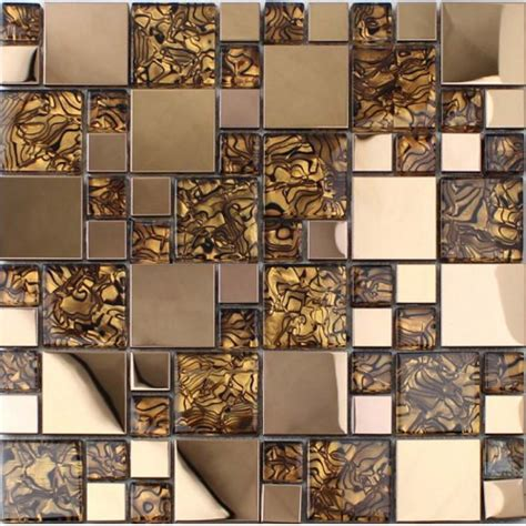 gold glass tile backsplash gold stainless steel backsplash for kitchen and bathroom