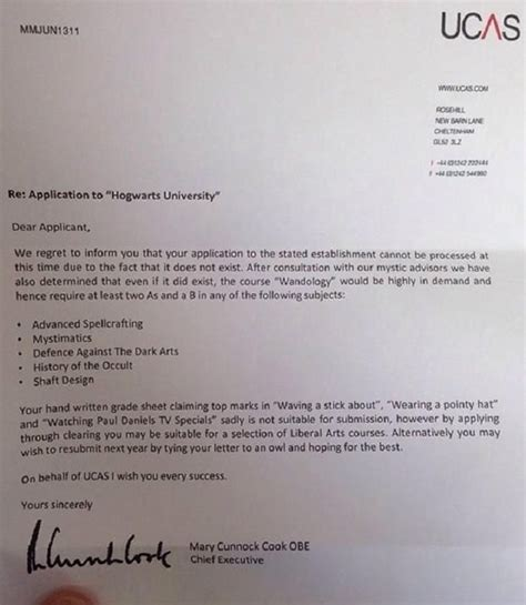 Letter Rejecting Knighthood ucas rejection letter